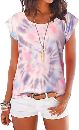 Yoins Women Short Sleeve Print Top Summer Round Neck Star T-Shirts Casual Blouse Tie dye-Pink M