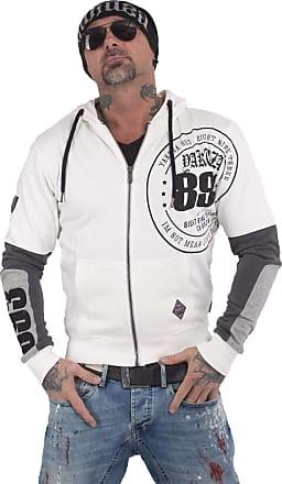 Yakuza Men Zip Hoodie Imperator Two Face, Size:XL, Color:White