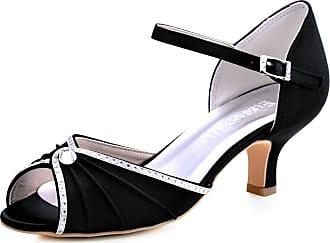 Elegantpark HP1623 Wedding Sandals for Bride Low Heel Women Bridal Sandals Peep Toe Ruched Rhinestones Satin Wedding Bridal Party Shoes Black UK 4(EU 37)