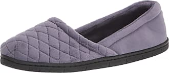 Dearfoams Womens Katie Velour Closed Back Slipper, Graystone, Medium