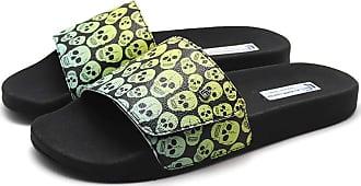 La Faire Chinelo Slide Tira em Velcro La Faire Skull Green (33/34, Sola Preta)