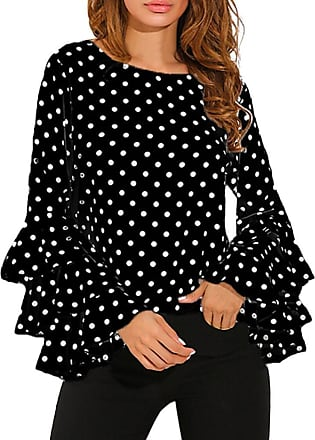 FNKDOR Spring Fashion Womens Bell Sleeve Loose Polka Dot Shirt Ladies Casual Blouse Tops Mother Gifts (L, Black)