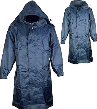 Champion Mens Champion Storm Knee Length Waterproof Front Zip With Velcro Storm Flap Packaway Hood Lightweight Lined Long Coat Jacket (XX-Large, Navy)