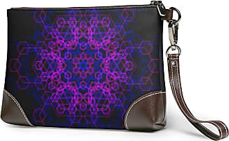 GLGFashion Womens Leather Wristlet Clutch Wallet Purple Art Storage Purse With Strap Zipper Pouch