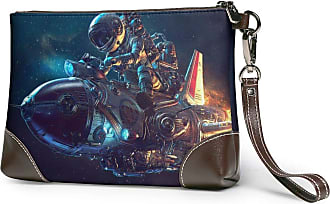 GLGFashion Womens Leather Wristlet Clutch Wallet Space Astronaut Storage Purse With Strap Zipper Pouch