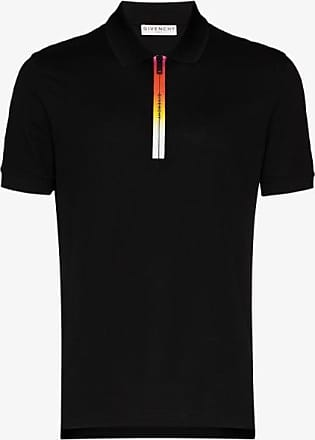 Givenchy Mens Black Gradient Logo Zip Polo Shirt