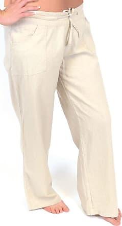 Tom Franks Ladies Stone Linen Blend Full Length Trousers Size 12