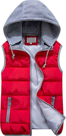 OCHENTA Women Quilted Zip Gilet Hooded Sleeveless High Neck Vest Jacket Red Lable Size L - UK XS