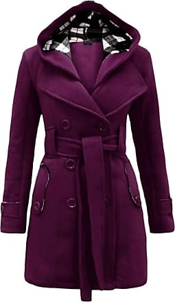 Yonglan Womens Duffle Coat Woolen Blend Trench Casual Hooded Double-Breasted Windbreaker with Blet Purple M