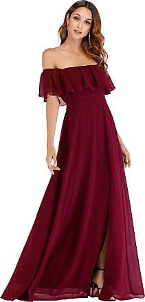 Ever-pretty Womens Off The Shoulder Elegant Empire Waist A-Line Chiffon Long Formal Evening Dresses with Thigh High Slit Burgundy 24UK