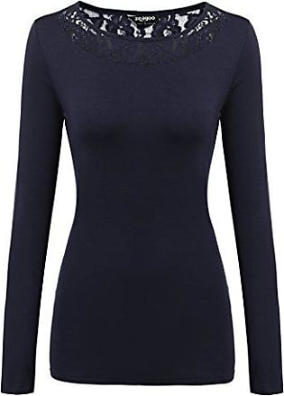c20dbc0980241 Zeagoo Damen T-Shirt mit Floral Spitze Langarmshirt Spitzenshirt Top Bluse  Shirt Tunika Hemd (