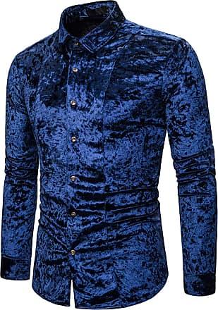 Whatlees Men Basic Design Long Sleeve Button Down Velour Dress Shirt Regular and Velvet Blue 02010203XBlue+XXL