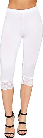 WearAll Womens 3/4 Stretch Leggings Lace Trim Cuffs Elasticated Plain Basic Pants - White - 12-14