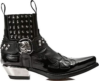 Newrock Mens 7921-S3 New Rock Leather West Black Silver Flame Cowboy Biker Boots