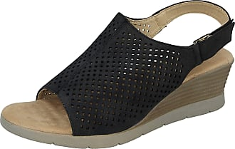 Cushion-Walk Ladies Faux Suede Foot Massage Technology Laser Cut Detail Open Toe Touch Close Sling Back Low Wedge Ultra Lightweight Comfort Sandals Size 3-8 (5 UK,