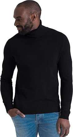 WoolOvers Mens Cashmere Merino Roll Neck Long Sleeve Top Fine Knit Polo Neck Knitted Sweater Black, L