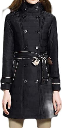 H&E Womens Casual Double Breasted Stand Collar Parkas Coat Black Small