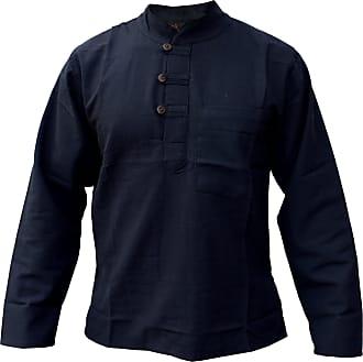 Gheri Mens Plain Cotton Hemp Grandad Collarless Pocket Kurtas Shirts Black XXX-Large
