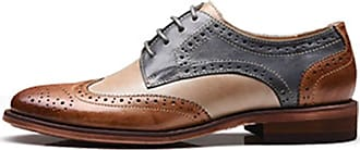 MGM-Joymod Womens 21025 Classic Lace-up Casual Vintage Simple Comfortable Perforated Wingtip Brogues Oxfords Flats Dress Leather Shoes (Grey Brown) 6.5 M UK