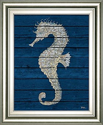 Classy Art Antique Seahorse On Blue Il by Patricia Pinto Framed Print Wall Art