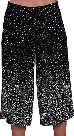 Eyecatch Womens Wide Leg Modern Ladies Culottes Shorts Trousers Pants | Black 24/26