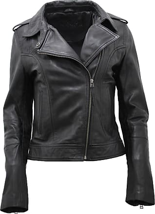 Infinity New Ladies Womens Short Retro Brando 442 New Black Fashion Motorcycle Biker Casual Style Soft Leather Rock Punk Jacket Slim Fit (18)