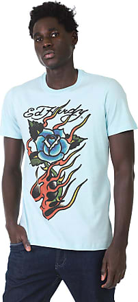 Ed Hardy Camiseta Ed Hardy Burning Rose Azul