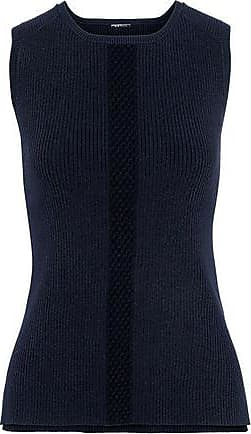 Elie Tahari Elie Tahari Woman Penny Open Knit-trimmed Ribbed-knit Top Navy Size XS