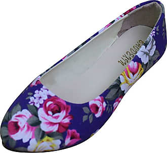 Vdual Womens Chinese Traditional Loafers Shoes Ladies Floral Slip On Ballerina Flat Ladies Pumps for Summer UK 2.5-UK 8.5 Purple