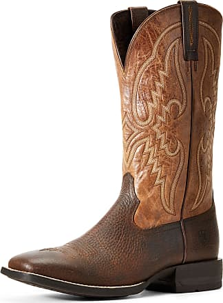 Ariat Mens Round Pen Western Boots in Copper Kettle Leather, D Medium Width, Size 10.5, by Ariat