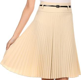 Sakkas FV3543 Knee Length Pleated A-Line Skirt with Skinny Belt - Light Beige/Medium