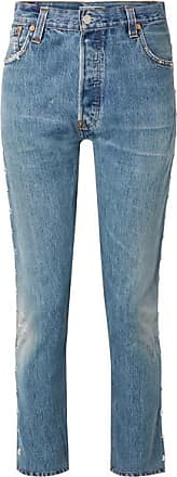 Re/Done + Levis Distressed Studded High-rise Skinny Jeans - Mid denim