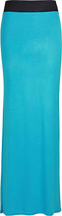 Purple Hanger Womens New Contrast Elasticated Waist Ladies Plain Long Stretch Maxi Dress Full Length Summer Skirt Turquoise Size 8 10