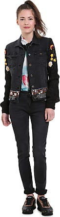 Desigual Womens Black Florecillas Embroidered Denim Jacket 44 UK 16