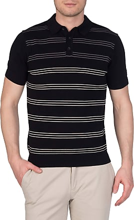 Merc PENGE, Mens Cotton Striped Knit Polo with Short Sleeves and Ribbed hems in Black XX-Large (UK: XXL)