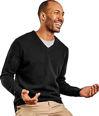 WoolOvers Mens Lambswool V-Neck Jumper Black, L