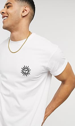 New Look embroidered sun chect print t-shirt in white