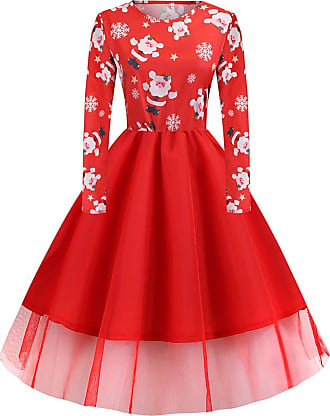FeelinGirl Women Cocktail Party Dress Christmas Skater Print Skirt Christmas Eve with Long Sleeve Round Neck High Waist Vintage Dress Dark Red XXL