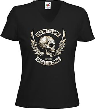 Fruit Of The Loom Biker Ladies T-Shirt Bad to The Bone Motorcycle US Skelett V-Twin Gr.M Black