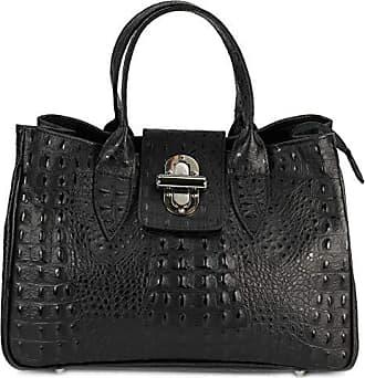220bc99e14b4d Belli Echt Leder Handtasche Damen Ledertasche Umhängetasche Henkeltasche in  schwarz matt Kroko Prägung - 36x25x18 cm