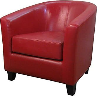 New Pacific Direct 193010B-67 Hayden Bonded Leather Tub Accent Chairs, Red