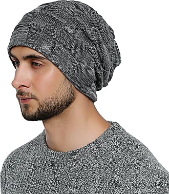 DonDon mens Warm Winter Beanie Slouch tube design modern knitted beanie with extra soft inner lining - Grey White