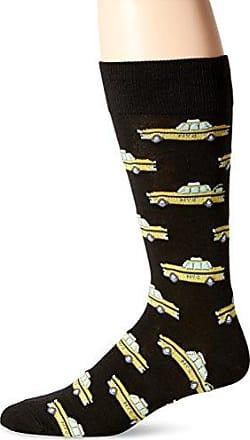 Hot Sox Mens Conversational Slack Crew Socks, Taxi Cab (Black), Shoe Size: 6-12