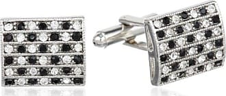 Stacy Adams Stacy Adams Mens Silver Cuff Link W/Black & Clear Crystals, One Size