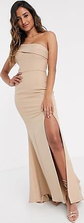 Jarlo Lange en geplooide jurk met blote schouder in taupe-Bruin