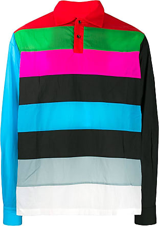 Xander Zhou stripe panel polo shirt - Blue