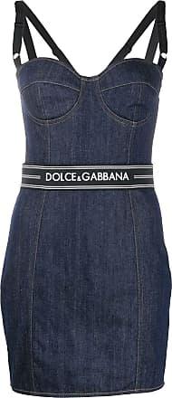Dolce & Gabbana Vestido jeans com cinto e logo - Azul
