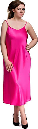 Nine X Many Colours, S-6XL silki Satin Chemise, Plus Size Babydoll Lingerie Pink 6XL