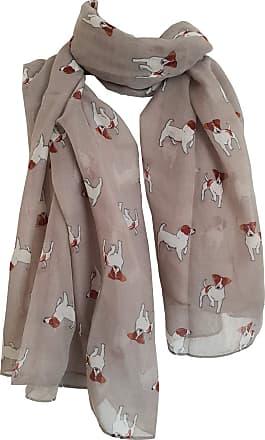 GlamLondon Jack Russell Print Scarf, Dogs Animal Womens Ladies Long Big Puppies GlamLondon Wrap (Grey)(Size:L)