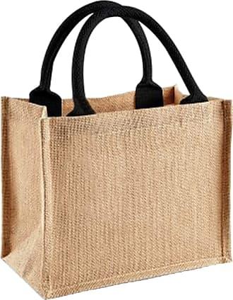 Westford Mill Jute Mini Gift Bag (6 Litres) (One Size) (Natural/Black)